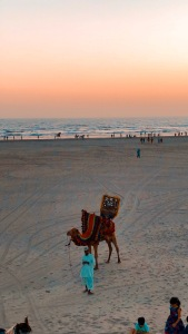 seaview, karachi, sunset, explore pakistan, travel blogger, camel rides